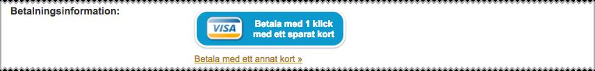 Skärmdump som visar hur det ser ut när du betalar med ett klick från Loopia Kundzon