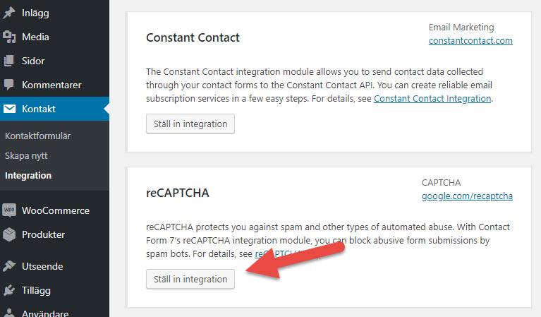 Skärmdump från tillägget Contact form 7 i WordPress