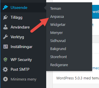 Skärmdump från WordPress kontrollpanel